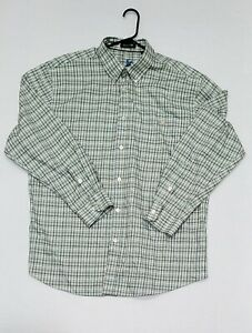 Orvis Country Twill Men's XL Green Plaid Long Sleeve Button Down Shirt