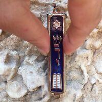 10 Commandment Mezuzah Silver Tone Made in Israel Door Mezuza Hebrew Torah Bibl