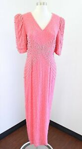 Vtg Black Tie Oleg Cassini Pink Silk Beaded Sequin Formal Party Dress Size 12