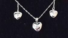 Set 925 massiv Sterling Silber Herz Ohrhänger & Anhänger & Kette 45cm