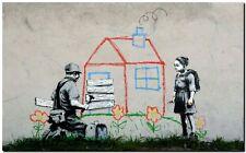 """BANKSY STREET ART *FRAMED* CANVAS PRINT Volunteers painting 18x12"""" stencil -"""