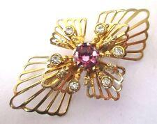 Ancienne broche bijou vintage couleur or relief cristaux rose et diamant   176
