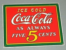 Enamel Sign - COCA COLA - Five 5 Cents - Rare Shop Advertising USA Display Sign