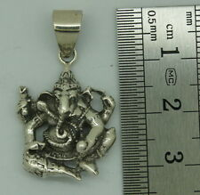 d Lucky Charm Solid 925 Sterling Silver Ganesha Elephant Hindu God Pendant