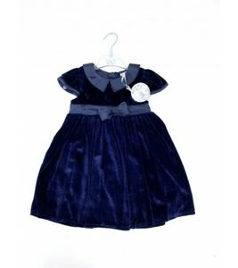 Baby girls clothes spanish style velvet navy bow dress 3-24 months