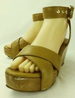 Tory Burch Wos Sandals US 7 M Brown Leather Buckle Ankle Strap Wedge Heel 5401