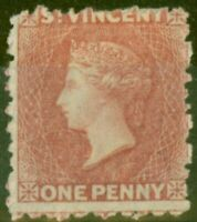 St Vincent 1862 1d Rose Rouge SG5 Fin MTD Excellent État