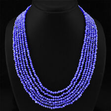 ABSOLUTELY AMAZING 368.80 CTS NATURAL 6 LINE BLUE SAPPHIRE ROUND BEADS NECKLACE