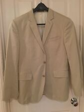 NWOT EXPRESS KHAKI COTTON SATEEN MEN'S SUIT JACKET sz 42 R Beige Ivory Lined