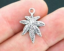 10 Weed Cannabis Marijuana Ganja Leaf charms 21 x 16 mm antique silver alloy