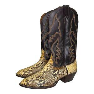 Nocona Western Exotic Python Snake Cowboy Boots Larry Mahan Handmade Size 8.5 D