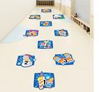 Cartoon Digital Grid Children Game Floor Sticker Wallpaper Kids Room Home Decor