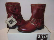 NEW FRYE JENNA STUDDED SHORT WOMENS LEATHER BOOTS BURNT RED SZ 9.5