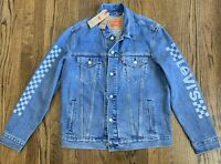 Levi's Trucker Denim Jean Jacket, Size Large, Checkered Sleeve 72334-0378