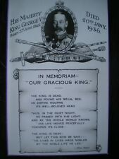 POSTCARD IN MEMORIAM GEORGE V 20TH JAN 1936