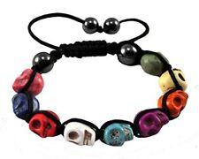 Shamballa SKULL HEMATITE Beaded Bracelet  day of the dead Multi-Colour Punk Goth