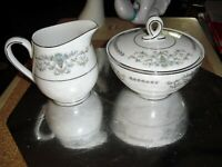 Mikasa Fine China Japan Margaret 5555 pattern Creamer & Sugar Dishes