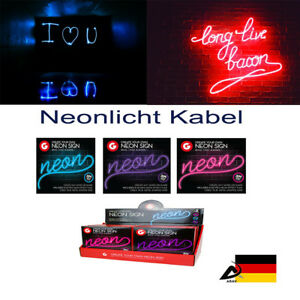 EL 3M Kabel Neonlicht Effekt Leuchtdraht Leuchtschnur Deko Licht Party Disko