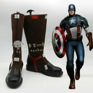 Captain America Cos Shoes Cosplay Boots Custom Made