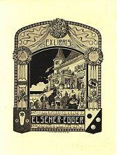 EX-LIBRIS  de ELSENER-EGGER par Hans Eggimann de Bern. Suisse.