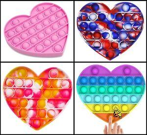 Heart Push Pop Fidget Kids Toy It Bubble Special Needs Silent Sensory Autism