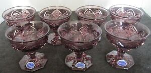 """7 PCS IMPERIAL OHIO USA COSMOS AMETHYST 3 5/8"""" CHAMPAGNES TALL SHERBETS RARE"""
