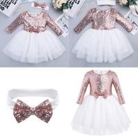 Toddler Flower Girl Dress Kids Baby Party Wedding Birthday Sequin Dress SZ 12M-8