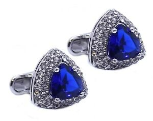 Triangle Cufflinks with Sapphire Blue Swarovski crystal gift by CUFFLINKS DIRECT