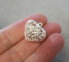 1 Hollow Puffed Heart Pendant, Silver Plated Copper - 21mm