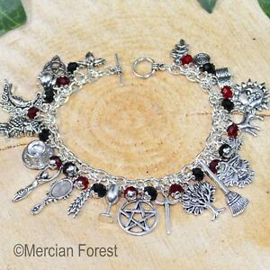 Gothic Witches Charm Bracelet - Pagan Jewellery, Wicca, Witchcraft, Gothic