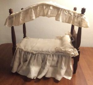Vintage Wood Canopy Doll Bed - 1950s Hall's Lifetime Doll Furniture