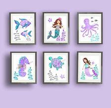 mermaid nursery art prints purple teal mermaid bathroom wall art decor pictures