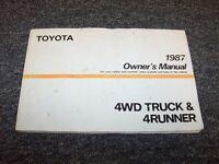 1987 Toyota Truck & 4Runner Owner Owner's Operator Guide Manual Deluxe SR5 2.4L