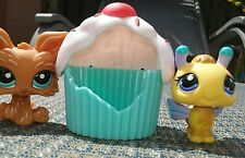 Littlest pet shop BUMBLE BEE #1408 & BROWN YORKIE #1407 w/ cupcake 100% Authetic