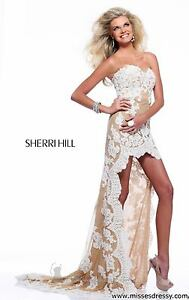21016 Sherri Hill Hi Lo Ivory/Nude Lace Evening Prom Gown Dress Size USA 0