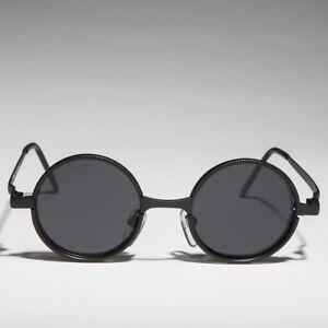 Black Round Metal Hippie Vintage Steampunk Sunglass Gray Lens - Merlin