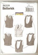 Butterick Pattern B6339 Men Victorian Single or Double Breasted Vests Sz XL-XXXL
