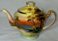 "Noritake* TREE IN THE MEADOW*5 1/2"" TEAPOT W/LID* GOLD HANDLE*RED MARK"