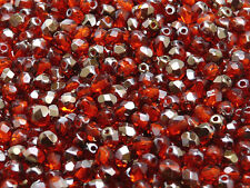 CHOOSE COLOR! 100pcs 4mm Czech Glass Fire-Polish Beads Round