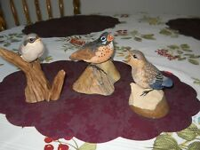3 Vintage Danbury Mint Bird Figurines Shrike, Baby Bluebird & Robin - All Mint