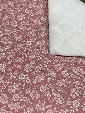 """18 1/2"""" x 18"""" Vintage Double Sided Quilted Cotton Mauve Floral w/White 70s - 90s"""