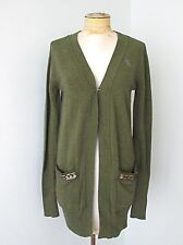 NWT Abercrombie & Fitch Green Open Cardigan Sweater Jewel Gems Pocket Bling M