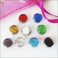 18 New Charms Silver Edge Glass Round Flat Spacer Beads Mixed 10mm