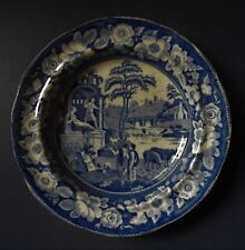 ENGLISH BLUE & WHITE EARTHENWARE PLATE - C.1825