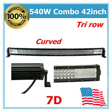 Curved 42'' 540W LED Combo Light Bar Tri row 7D Ranger Utility Hummer Ford Dodge