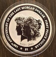 2021 1oz Silver British Virgin Islands 100 YRS OF MORGAN & PEACE Dollar FREE CAP