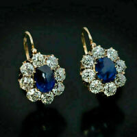 3Ct Oval Cut Blue Sapphire Diamond Hoop Earrings 14K Yellow Gold Finish