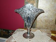 Vintage Embossed Fanned Silver Filigree Silver plate Epergne Vase Centerpiece