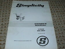 Simplicity 2 Stage Sno-Away Owner's Manual