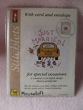 MOUSELOFT STITCHLETS CROSS STITCH KIT ~ JUST MARRIED ~ CARD & ENVELOPE ~ NEW